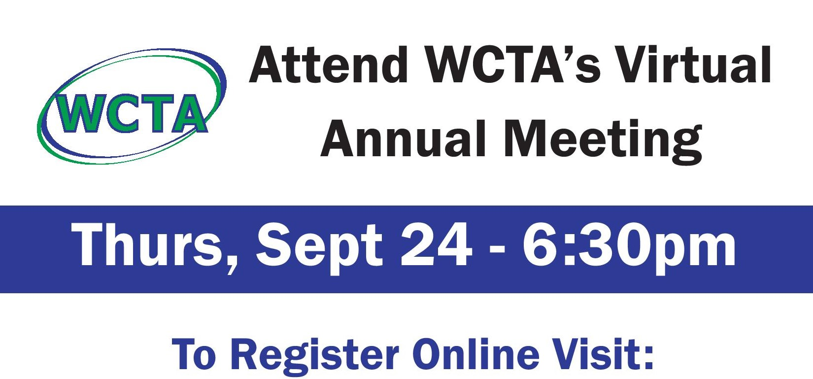 Annual Meeting September 24 at 6:30PM. Register online at the following link: